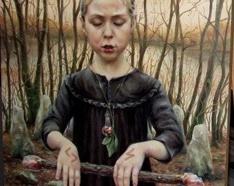 Incantation - original oil painting Tanya Bond portrait traditional art realism figurative modern classic runes magic wand spell Ireland