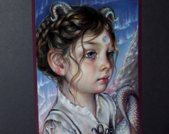 CAPRICORN MOON original pastel painting illustration Tanya Bond astrology sign zodiac pop surrealism fantasy art sea goat horns tail