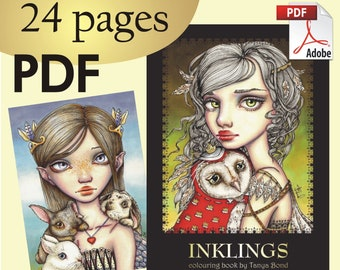 PDF INKLINGS colouring for adults instant DOWNLOAD printable file fairy tale fantasy fashion princess girl animals birds dragon owl design