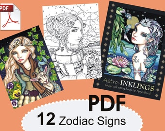 PDF Astro-INKLINGS colouring book for adults instant DOWNLOAD printable file fantasy illustration zodiac astrology signs