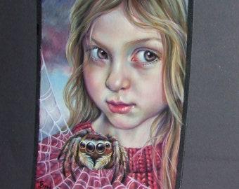JUMPING SPIDER original pastel painting illustration Tanya Bond fantasy art girl web insect totem