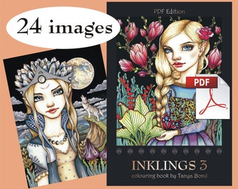 PDF INKLINGS 3 colouring for adults instant DOWNLOAD printable file fairy tale fantasy fashion princess girl animals birds dragon design