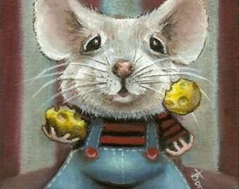 JUGGLER mouse - circus animal art - cheese stripes and dungarees - print of an original painting by Tanya Bond