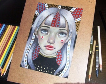 Patterns - original coloured pencil drawing illustration art by Tanya Bond - pop surrealism humming bird girl