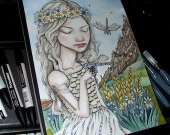 Dragonflies - original pen and ink illustration by Tanya Bond