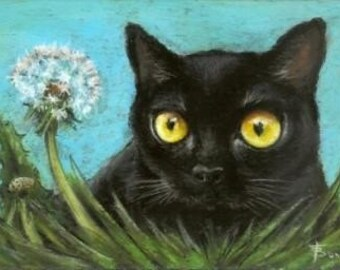 To blow or not to blow - black cat contemplating over a dandelion - 5x7 print of an original painting by Tanya Bond