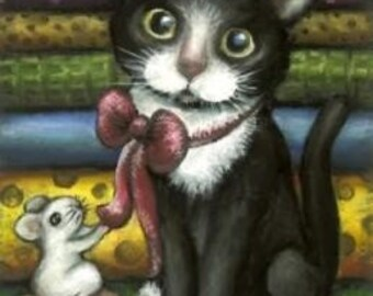 Little kitty at the tailor - 5x7 print by Tanya Bond - would make perfect gift for someone who likes sewing
