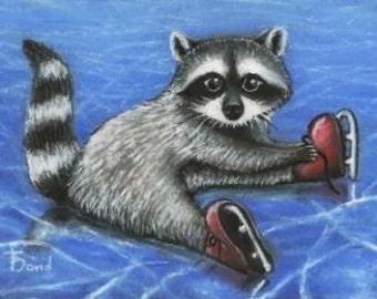 Little raccoon putting on his skates - 5x7 print by Tanya Bond