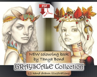 PDF Grayscale Collection colouring book for adults instant DOWNLOAD printable file fantasy illustration by Tanya Bond
