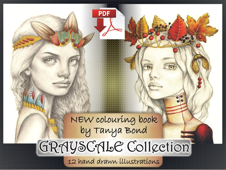 PDF Grayscale Collection colouring book for adults instant image 0