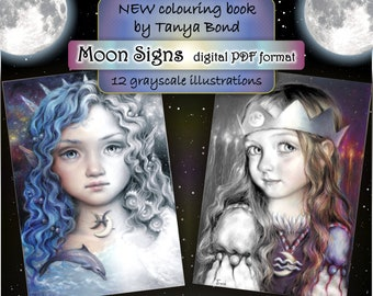 PDF Moon Signs grayscale collection colouring book for adults instant DOWNLOAD printable file astrology illustration by Tanya Bond coloring