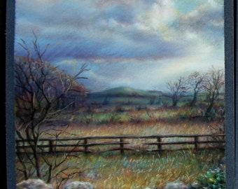 Knockshegowna View original pastel painting illustration Tanya Bond Fairy Hill County Tipperary Ireland