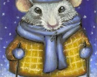 Little rat wrapped up warm and heading for the North Pole - original oil pastel ACEO painting by Tanya Bond