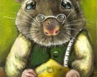 Rat the tailor sewing a ball gown from cheese fabric - 5x7 print of an original painting by Tanya Bond