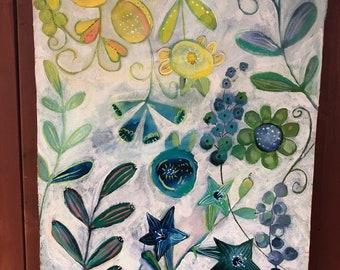 Blue Joy original canvas painting by Julie Fillo