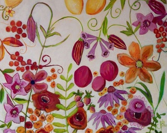 May Flowers 24x24 Acrylic painting Pink Orange Yellow by Julie Fillo