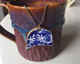 Ceramic Porcelain cobalt and white pendant necklace by Julie Fillo