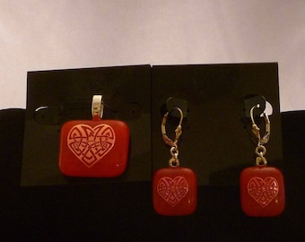 Celtic Heart Pendant and Earring Set