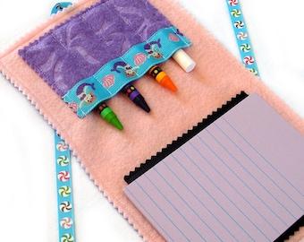 DINE.n.DOODLE - Fold.n.Go Art Folio (tm): Mermaids ... mini chalk mat & crayon play on the go - Free Shipping