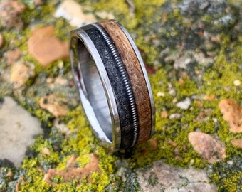 The Gunslinger Ring - Titanium Wedding Ring with Whiskey Barrel Wood and Guitar String Inlays