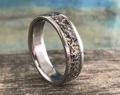 Unique Meteorite, Dinosaur Bone Inlay Ring - Men 39 s Titanium Wedding Band