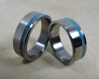 Titanium Rings, Wedding Rings, Turquoise Rings, Wedding Band Set, Blue Rings, His and Hers Rings, Matching Ring Set, Blue Ring, Mens Wedding
