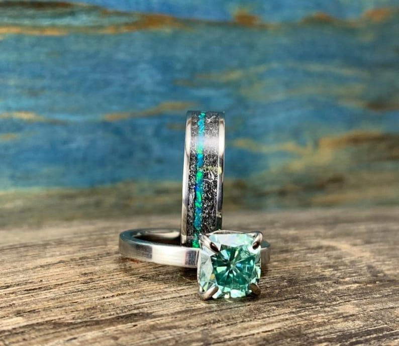 Engagement Rings Set Titanium Wedding Rings Set With Opal Etsy