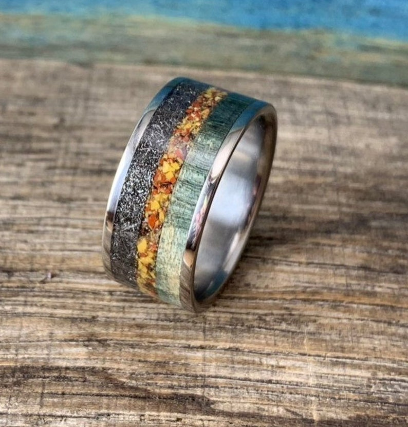 Meteorite and Dinosaur Bone Ring for Men  10mm Wide Ring  image 0