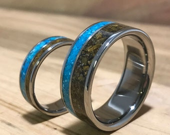 Titanium Rings, Wedding Rings, Turquoise Rings, Tigers Eye Rings, Wedding Band Set, His and Hers Rings, Matching Ring Set, Mens Wedding Ring