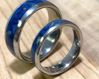 Titanium Rings, Wedding Rings, Wedding Ring Set, His and Hers Rings, Wood Rings, Blue Rings, Mens Ring, Womens Ring, Mens Wedding Ring