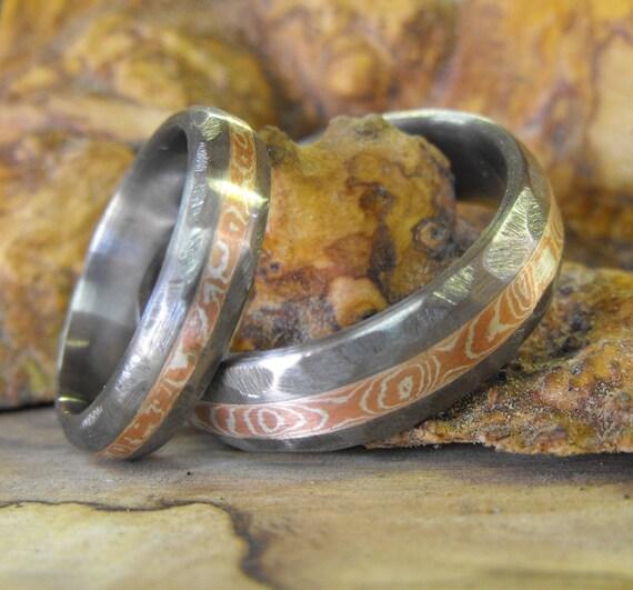 Titanium Rings Wedding Rings Mokume Gane Rings Wedding