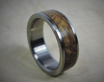 Titanium Ring, Wood Ring, Custom Made Ring, Wedding Ring, Charred Oak Whiskey Barrel Ring, Mens Ring, Womens Ring, Mens Wedding Ring