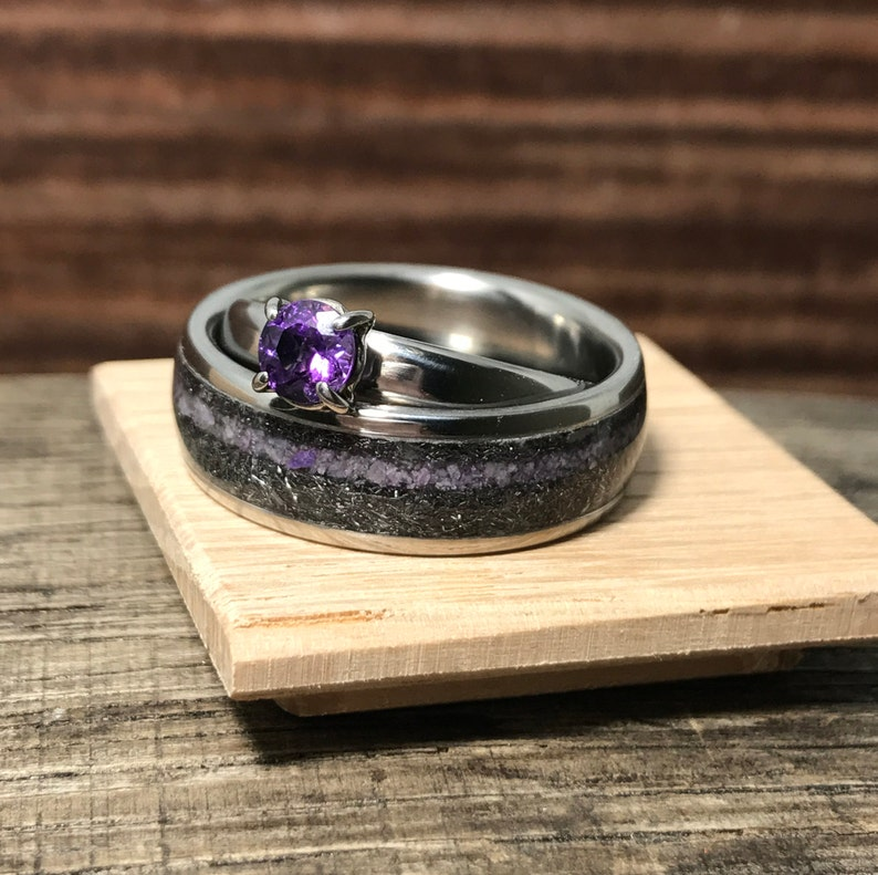 Wedding Band Set Wedding Bands His And Hers Meteorite Etsy