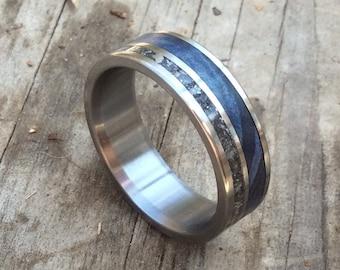 Men's Wedding Band - Meteorite Wedding Ring for Him - Blue Wood Ring Men's