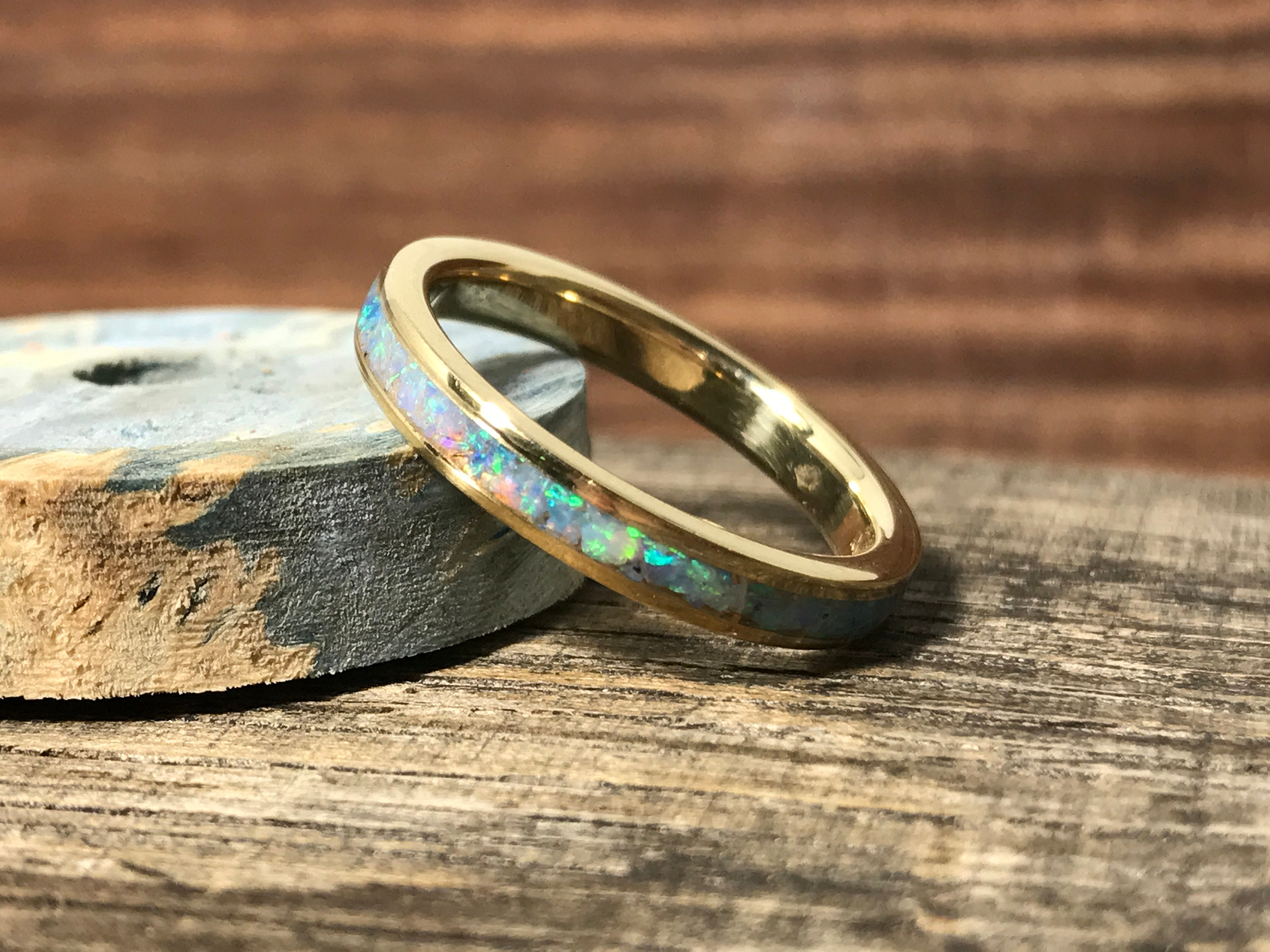 Opal Wedding Band.Yellow Gold And Opal Wedding Band Opal Engagement Ring Ladies Wedding Ring Gold Wedding Band For Her Gold Wedding Ring Robandlean