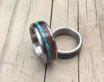 Titanium Rings, Wedding Rings, Wood Ring, Turquoise Ring, Wedding Band Set, His and Hers Rings, Wood Wedding Rings, Mens ring