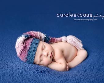 Clara - Tassel Stocking Hat blue burgundy rose pink girl newborn baby cap