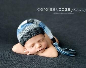 Jersey - Newborn Tassel Stocking Hat charcoal gray denim light blue white baby boy cap