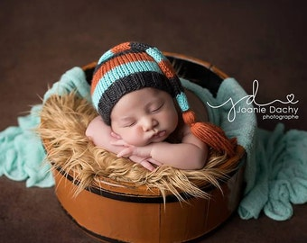 River - Newborn Tassel Stocking Hat charcoal gray grey mint orange baby boy cap
