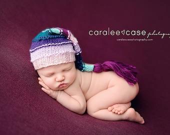 Pixie Perfect - Bumpy Tassel Newborn Stocking Hat baby girl pink purple aqua cap