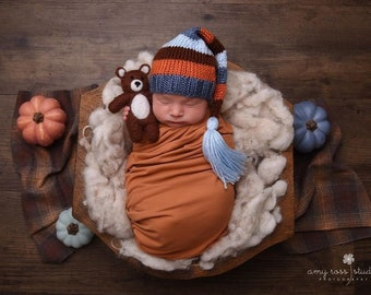 Harvest - Newborn Tassel Hat blue orange brown long tail sleepy elf cap