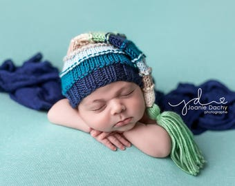 8d2f5a17792 Grasshopper - Newborn Bumpy Tassel Cap navy aqua teal blue sage green baby  long tail baby hat