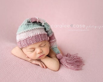 Aurora - Tassel Stocking Hat pink rose blue gray pastel girl newborn baby  cap c98eaf7cb9c4