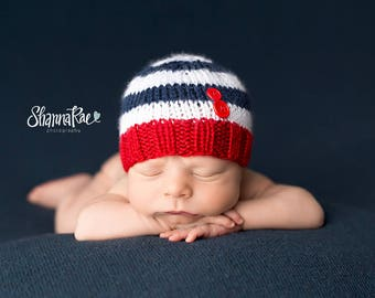 b9e2c4ab86856 Ahoy - Perfect Fit Newborn Beanie nautical photography prop striped navy  white hat with red buttons