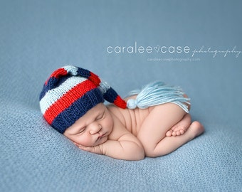 Prescot - Newborn Tassel Stocking Hat navy blue red baby striped photography prop long tail cap