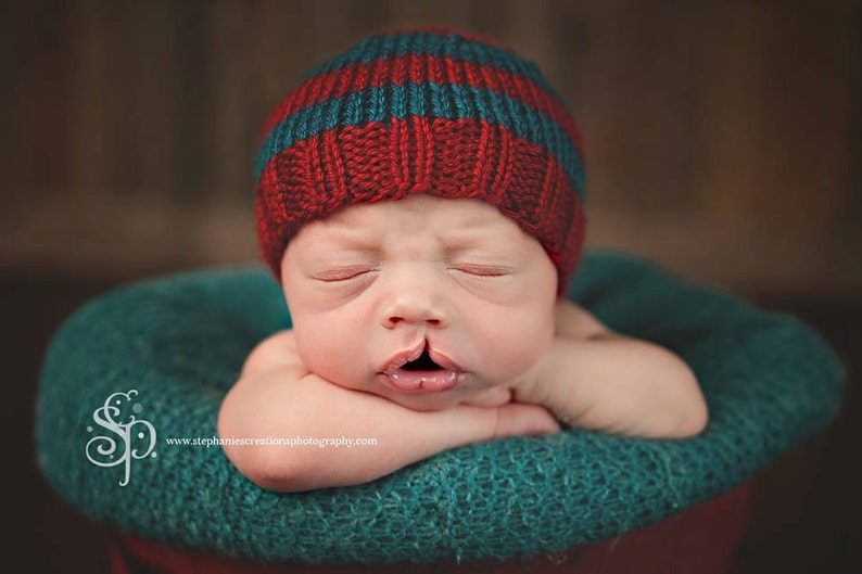 d8d337a8a5747 Silas Perfect Fit Newborn Beanie red teal striped baby hat