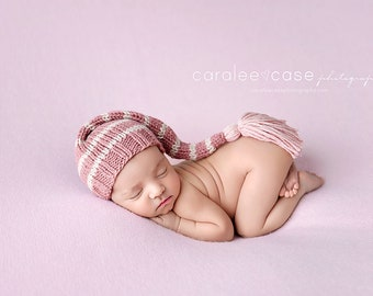 Mauve Rose - Tassel Stocking Hat pink mauve blush rose pastel girl newborn baby cap