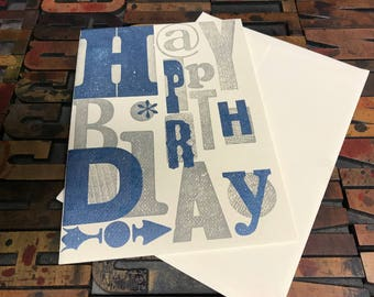 Printer's Wood Type Delight Letterpress Birthday Cards - Individual Cards