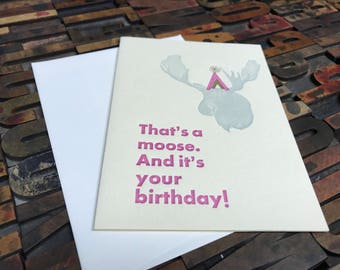 Party Hat Moose Letterpress Birthday Cards - Individual Cards