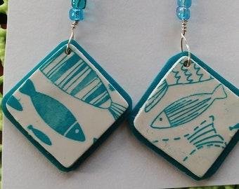 Silkscreened blue fish earrings
